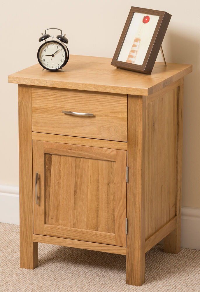 Boston Solid Oak Small Bed Side Table Unit 1 Drawer 1 Door Bedroom Furniture Ebay