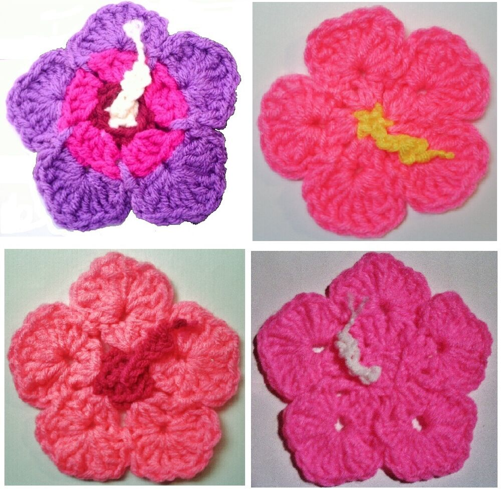 Free Crochet Pattern For Hibiscus Flower : HIBISCUS FLOWERS & LEAVES COASTERS & HOT PADS CROCHET ...