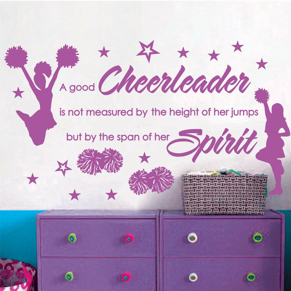 Cheer cheerleaders girls stars vinyl wall decor mural for Cheerleader wall mural