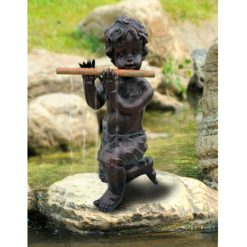 Stsatuette For Outdoor Ponds: BERMUDA PAN PIPER POND WATER SPITTER FEATURE BOY FIGURE