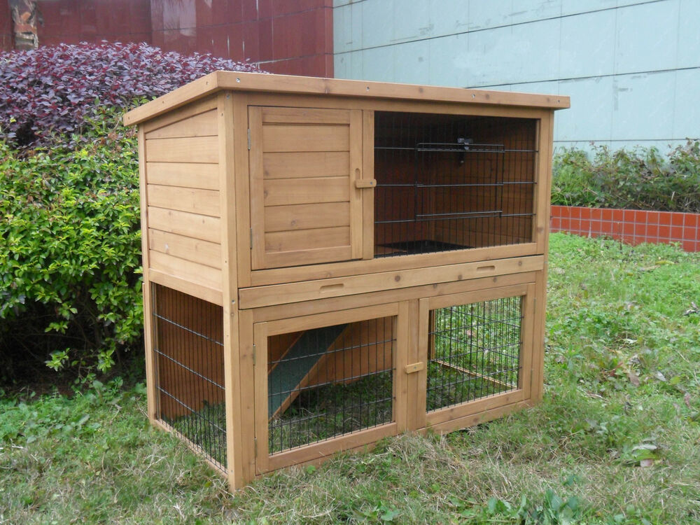 Wooden double level rabbit guinea pig ferret hutch with for Free guinea pig hutch