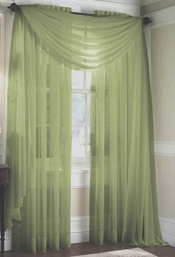 Set Of 2 Sheer Voile Curtains 84 Quot Long Sage Green Ebay