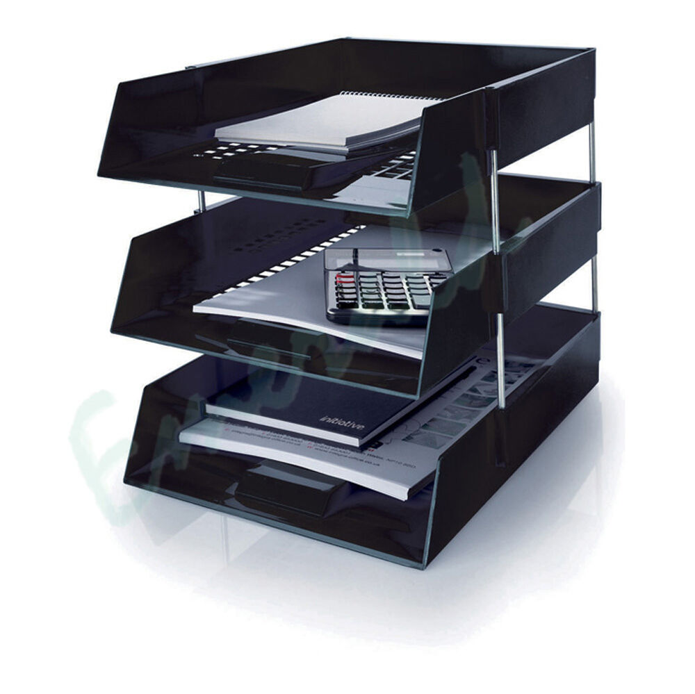 3 X Letter Filing Trays In Out Risers Complete Set