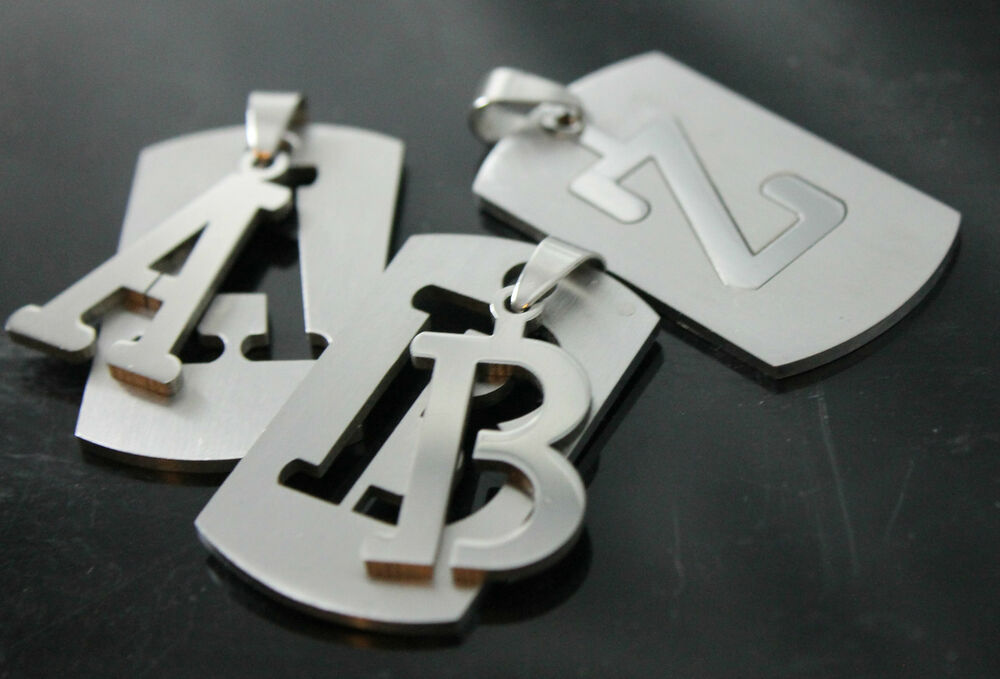 Dog Tag Army Pendant A To Z Stainless Steel Initial Letter