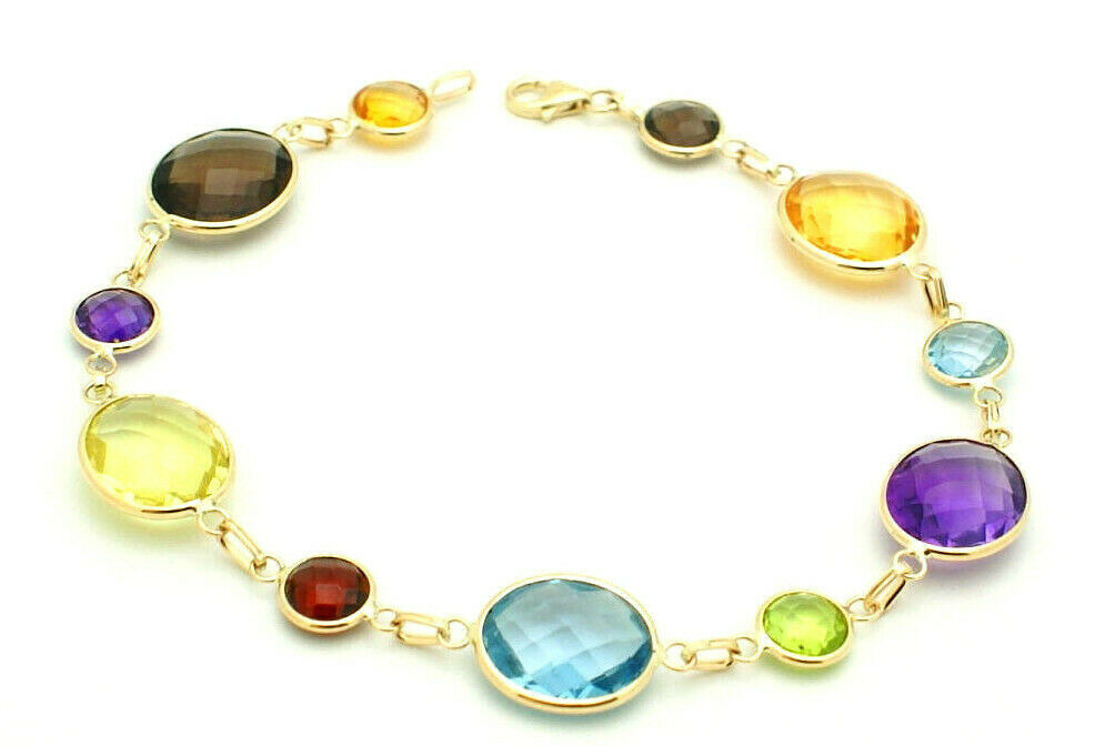 14k yellow gold fancy cut oval multi color gemstones