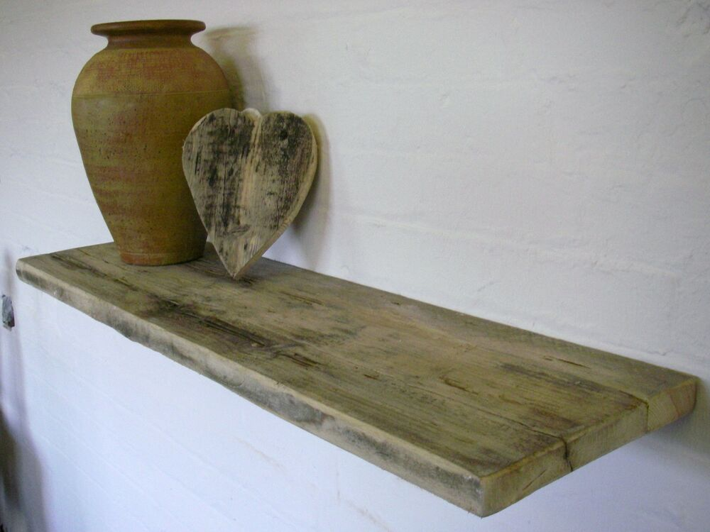 Large Floating chunky Driftwood Shelves with hidden ...
