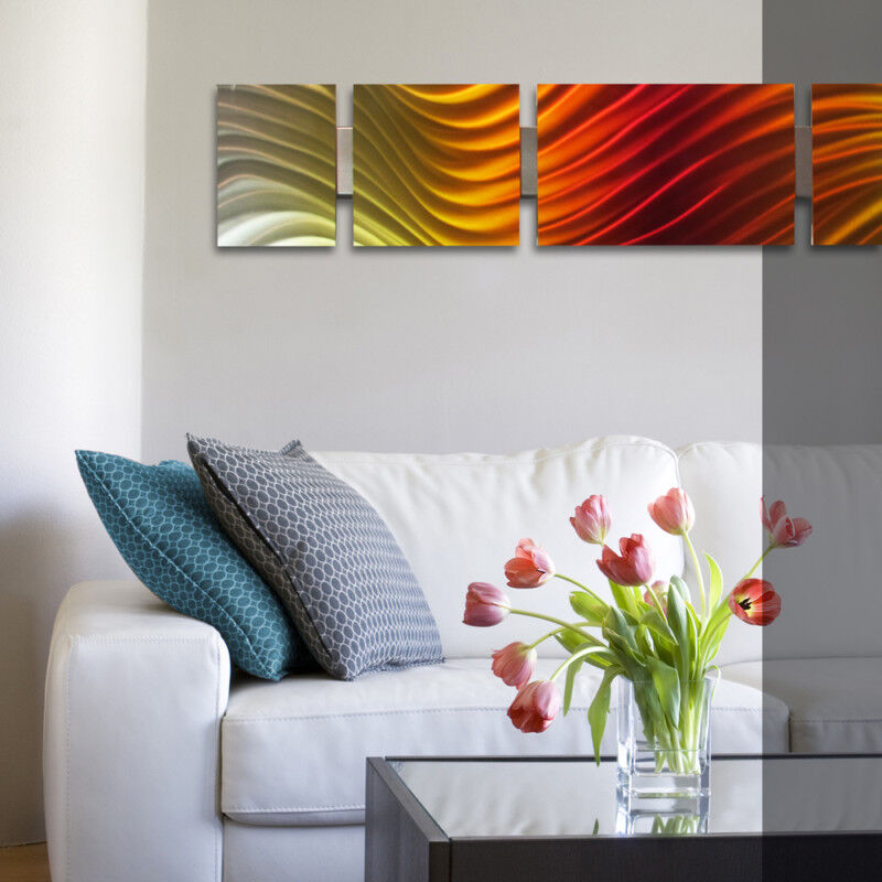 Modern Metal Wall Art Sculpture Abstract Panels Set Home
