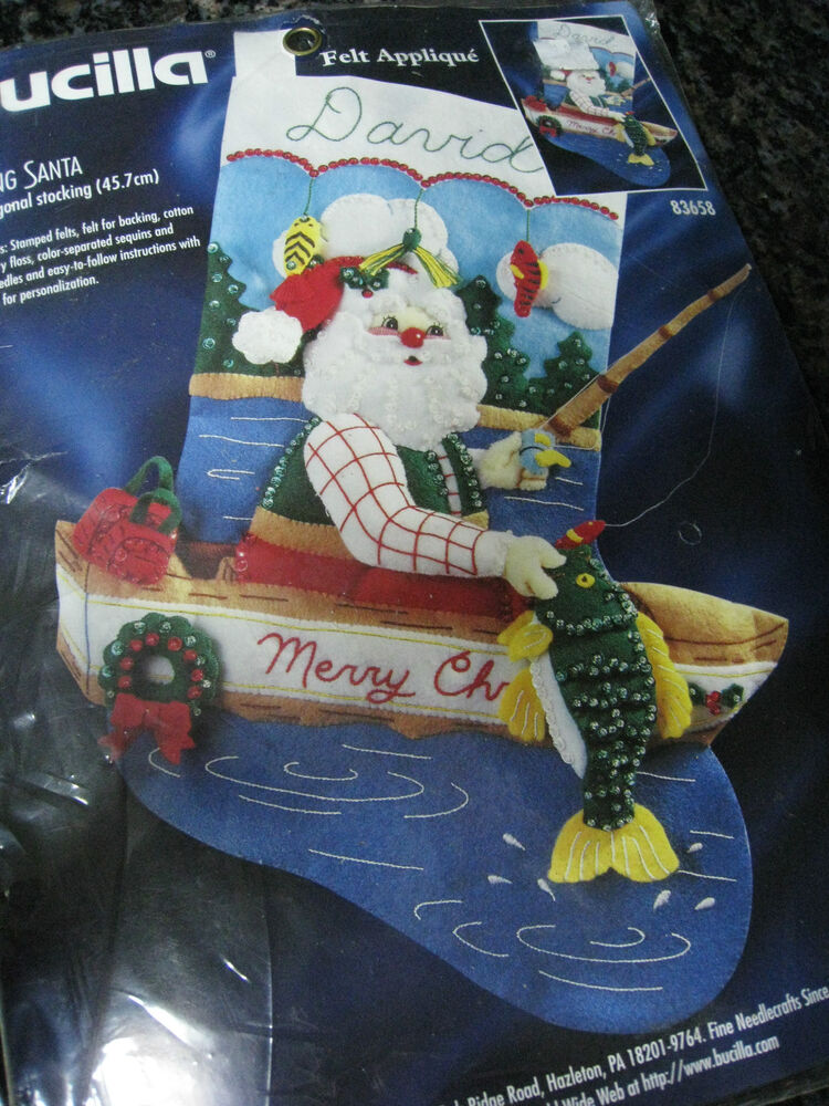 Bucilla christmas felt applique holiday stocking kit for Fish christmas stocking