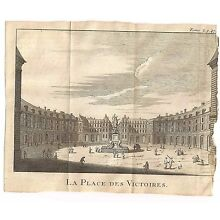 1685 Copperplate Engraving LA PLACE DES VICTORIES Paris France