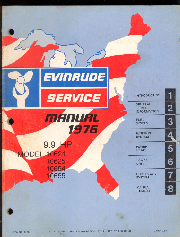 1976 evinrude outboard 9 9 hp service manual ebay for Yamaha 9 9 hp outboard motor manual