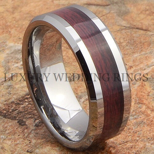 mens tungsten wedding ring tungsten mens ring wood wedding band bridal jewelry 5804