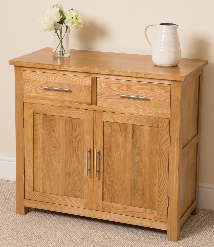 Oslo 100 solid oak small sideboard cabinet storage unit living room furniture 5060282270275 ebay for Small storage cabinet for living room