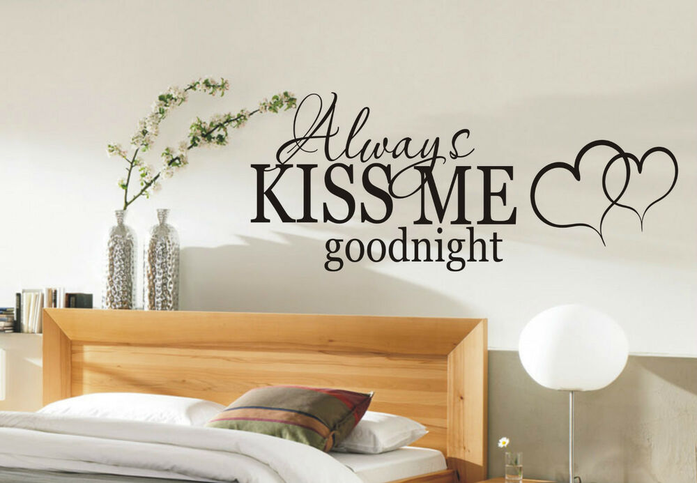 Always kiss me goodnight wall sticker quote bedroom wall for Bedroom wall art decor