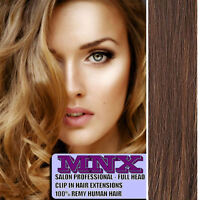 "24"" Dark Brown Caramel Mix Clip In Remy Human Hair Extensions Full Head Long UK"