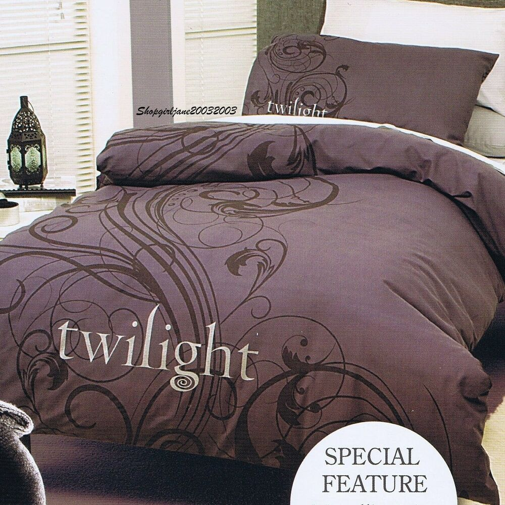 Grey Double Bed Covers : Twilight new moon grey metallic print twin bed quilt