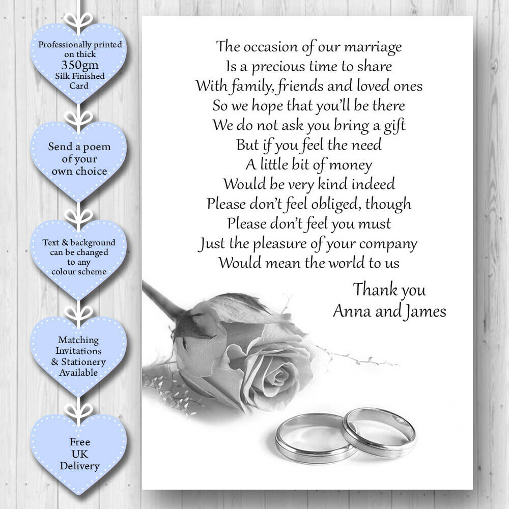 Pack Of 50 X Wedding Poem Cards For Your Invitations