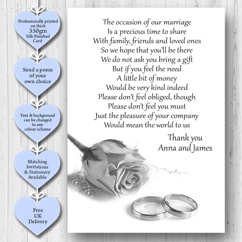 30 Wedding Poem Cards For Your Invitations - Money Cash Gift W58 | eBay