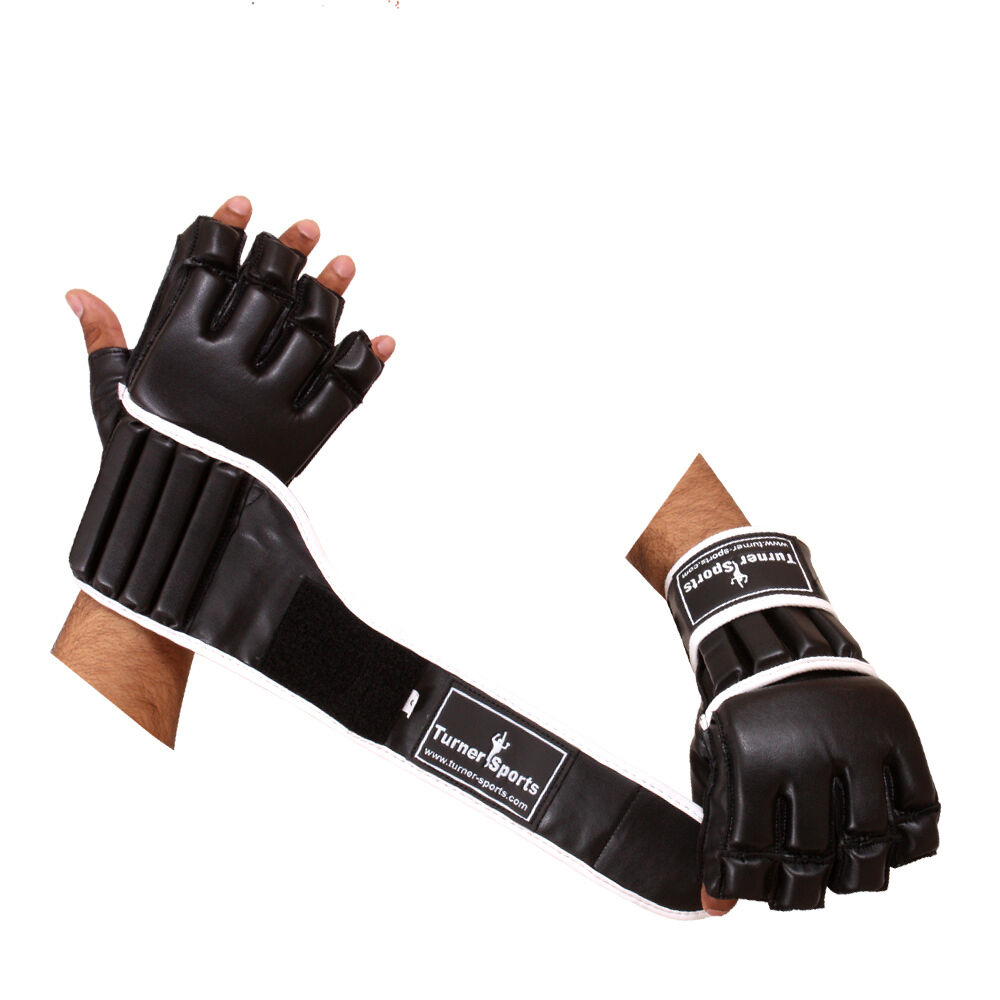 TMA Boxing Gloves Leather Gel Punching Fighting MMA Muay Thai Grappling