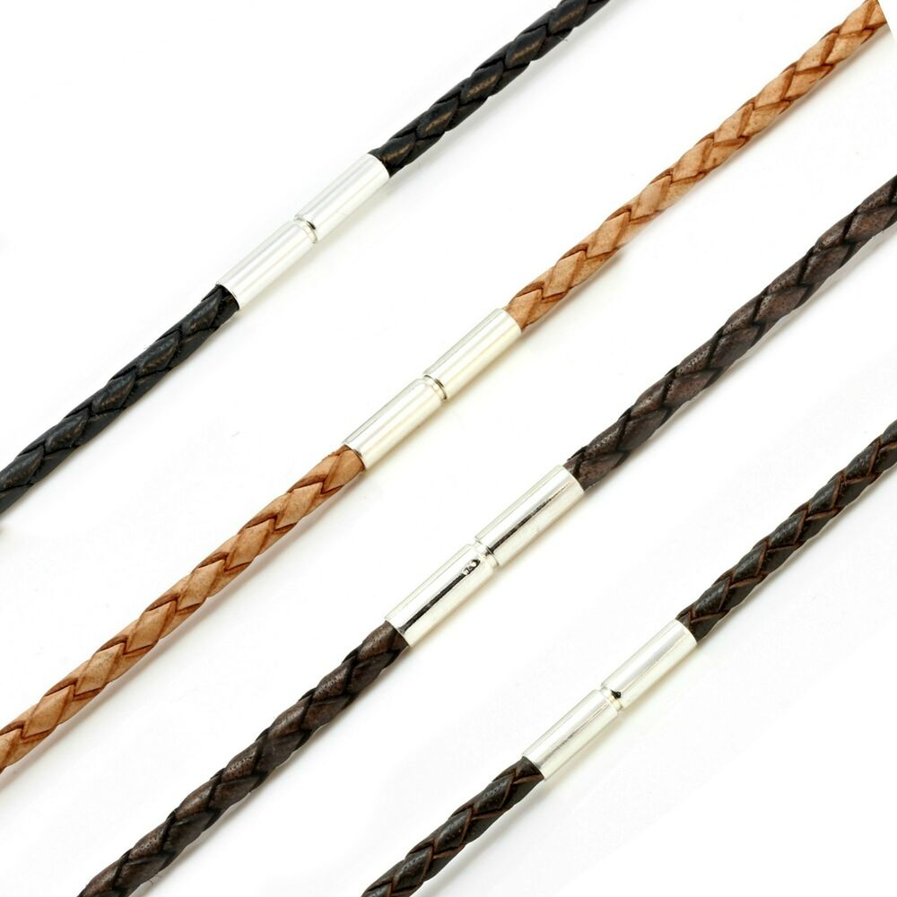 MENS / LADIES LEATHER NECKLACE-3mm BRAIDED STERLING SILVER ...