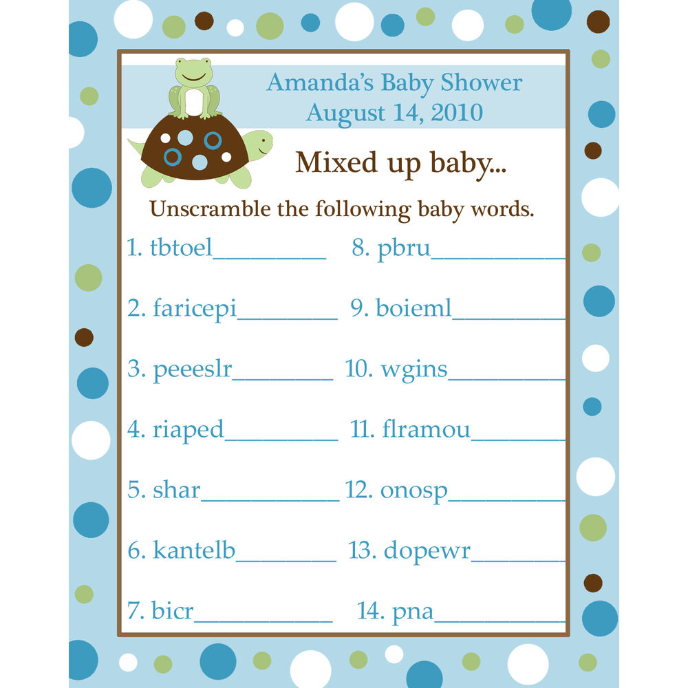24 Baby Shower Word Scramble Game Cards