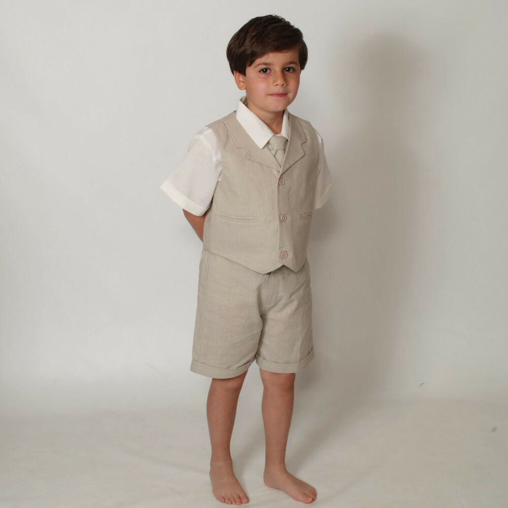 Baby And Toddler Boy Summer Wedding Cotton Linen Blend Kids Suit Vest Short Set