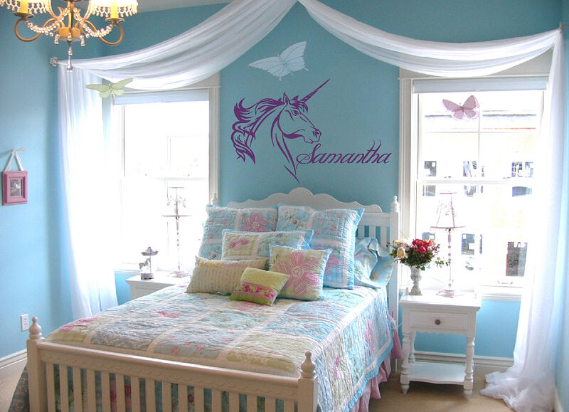 custom name text unicorn vinyl wall art sticker decal ebay