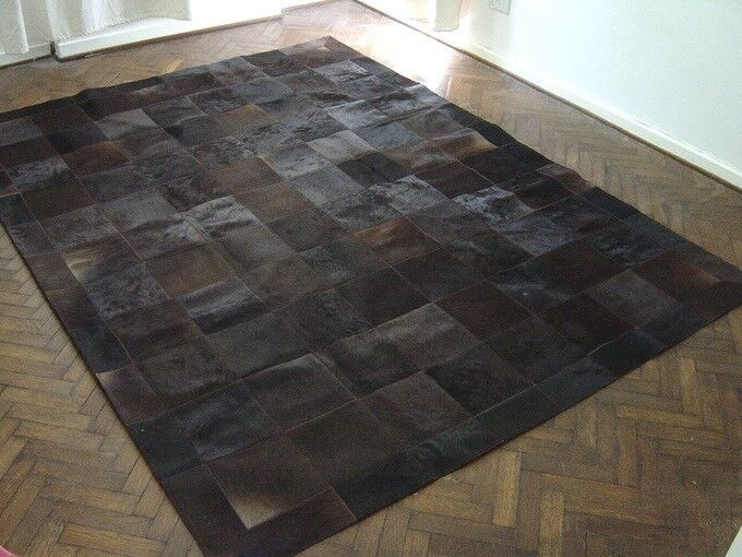 New Cowhide Patchwork Rug Leather Carpet Cu 444 Ebay