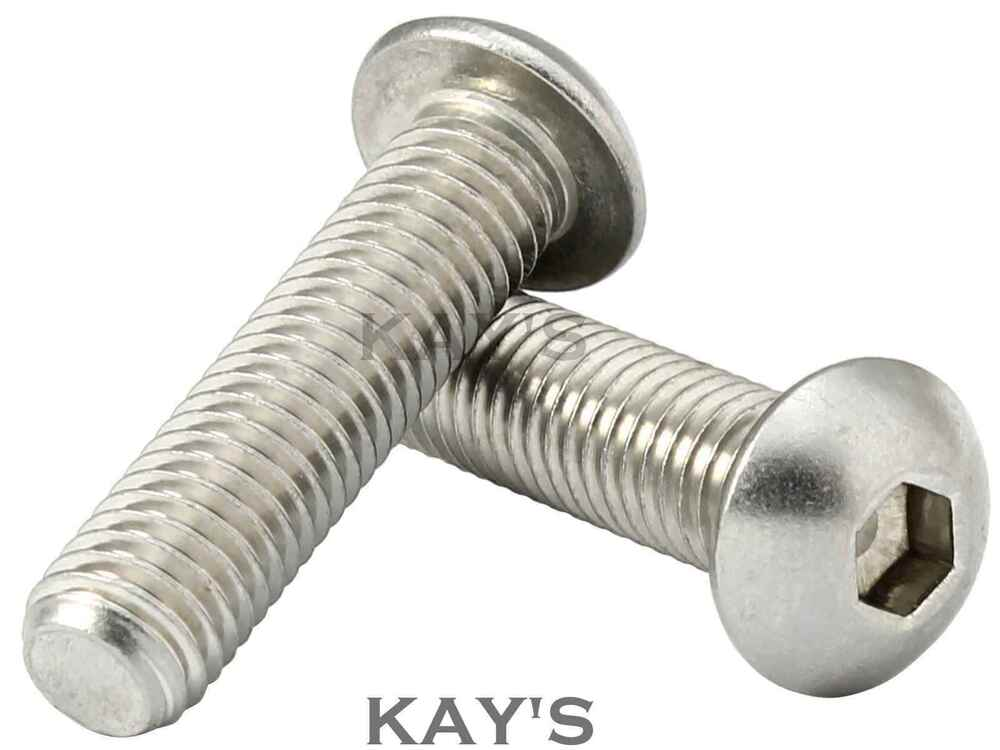 button head screws allen socket bolts m3 m4 m5 m6 m8 a2 stainless steel kay 39 s ebay. Black Bedroom Furniture Sets. Home Design Ideas