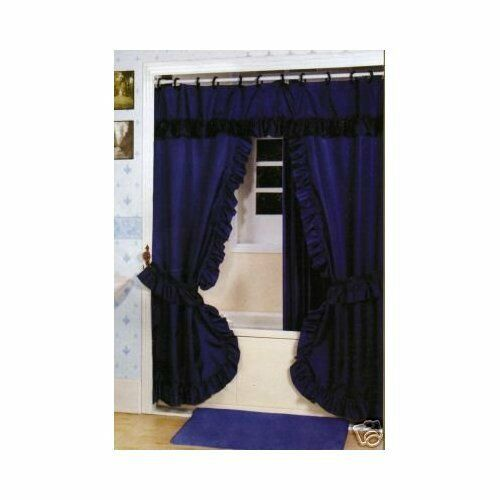Double Swag Dobby Dot Shower Curtain Liner Hooks Navy Blue Ebay
