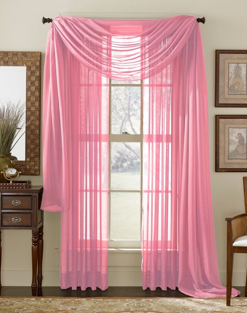 Set Of 2 Sheer Voile Curtains 84 Long Pink Rose Ebay