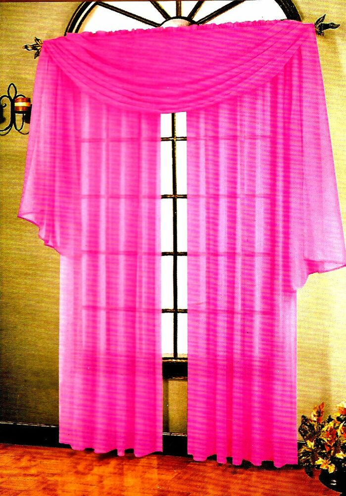 Details About Set Of 2 Sheer Voile Tailored Curtains 90 Long Neon Pink