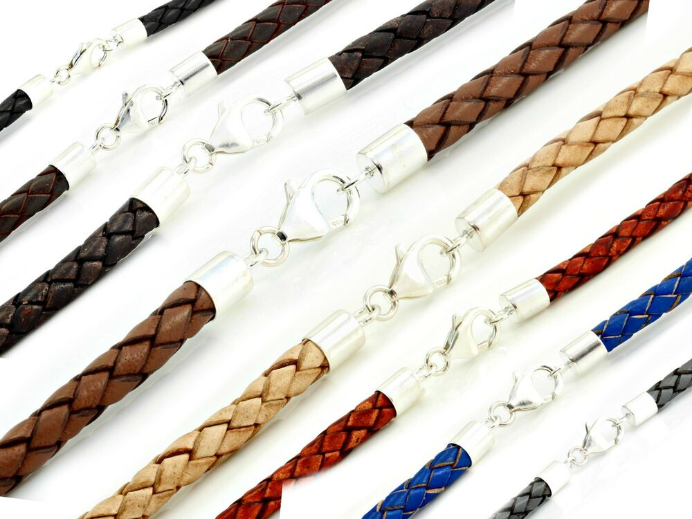 MENS LEATHER NECKLACE-5mm BRAIDED LEATHER-925 STERLING ...