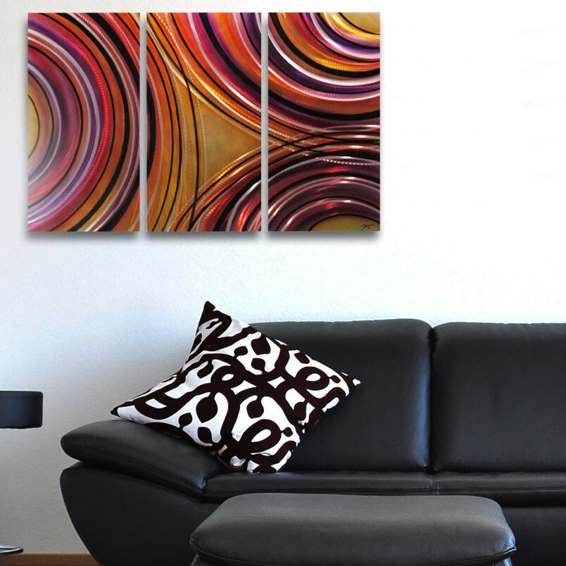 Modern abstract metal wall art orange gold contemporary for Orange wall art