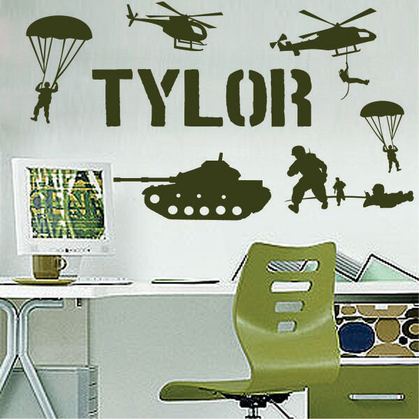 Name Military Army Soldiers Boys Room Vinyl Wall Decor