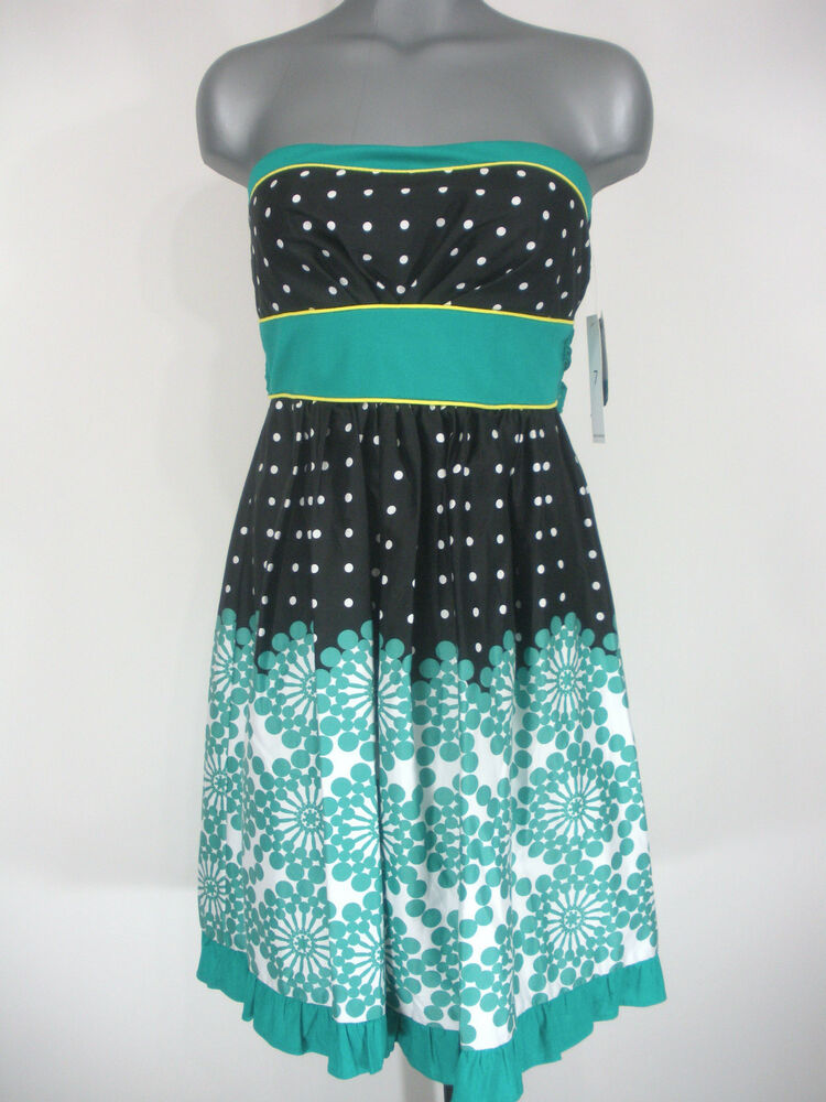 Nwt Juniors Teeze Me Black White Amp Teal Polka Dot