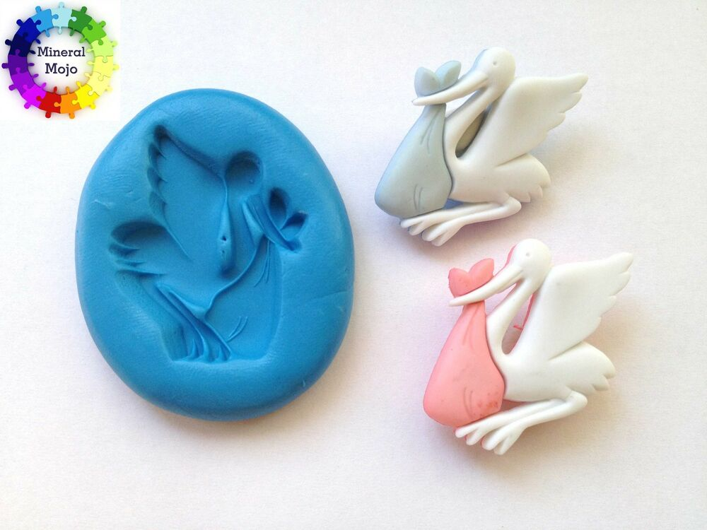 New Large Baby Stork Silicone Mould For Cupcake Card