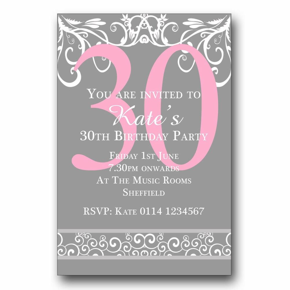 Details About 10 Personalised Birthday Invitations 18th 21st 30th 40th 50th 60th 70th Etc E101