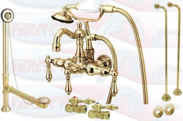 Polished Brass Clawfoot Tub Faucet Kit Including Drain Supplies Foor Stop