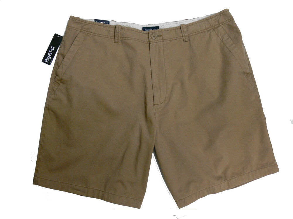 St. John's Bay Men's Casual Flat-Front Shorts Brown Big