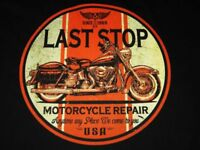 VINTAGE LOOK  LAST STOP MOTORCYCLE REPAIR T SHIRT