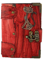 Cat Sculpture on a Red Leather Bound Journal - Notebook - Diary - Sketchbook