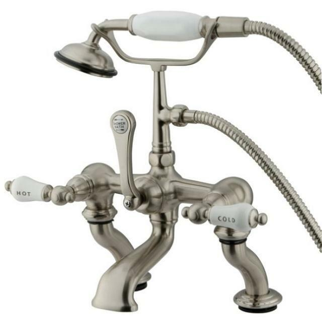 Kingston Brass Deck ClawFoot Tub Faucet With Hand Shower Satin Brushed Nick