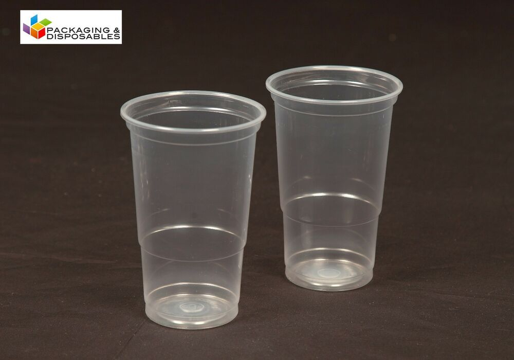 250 x clear disposable plastic half 1 2 pint beer glasses for How strong is acrylic glass