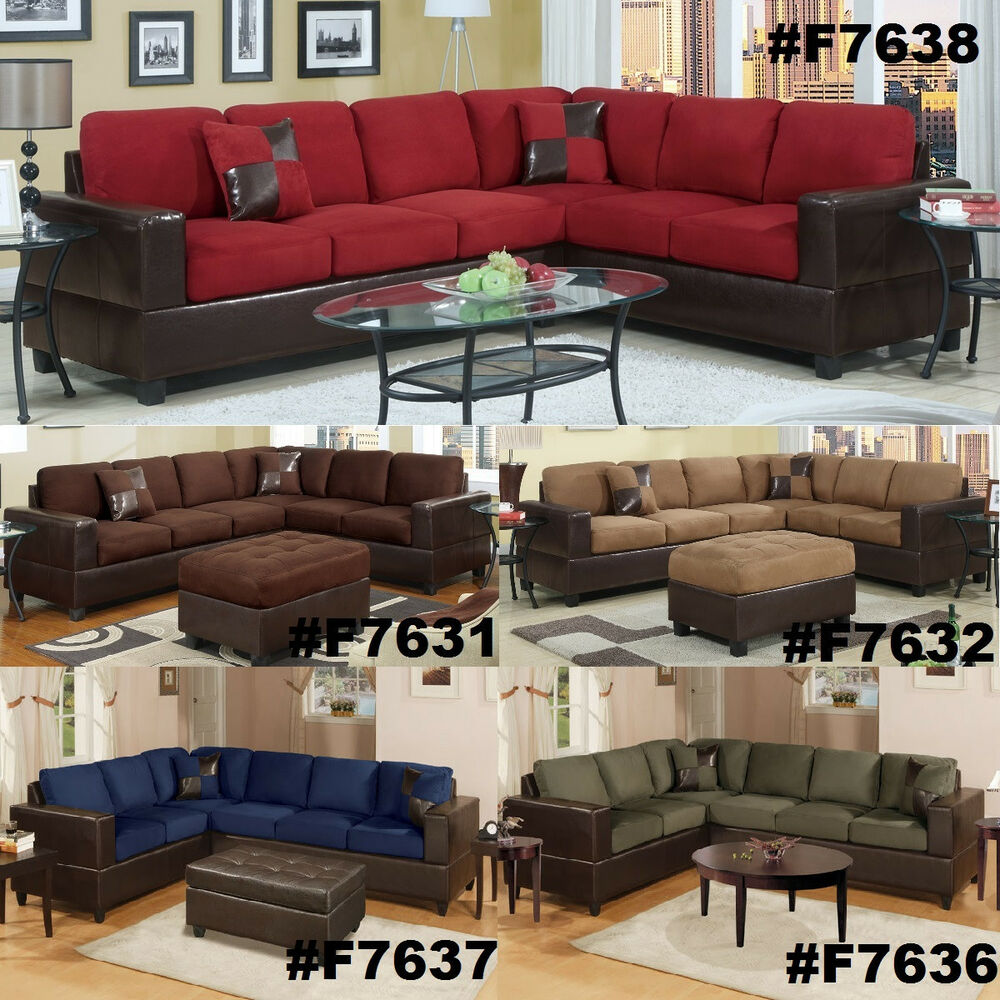 Chocolate Sectional Couch 2 Pc Sofa Loveseat Wedge