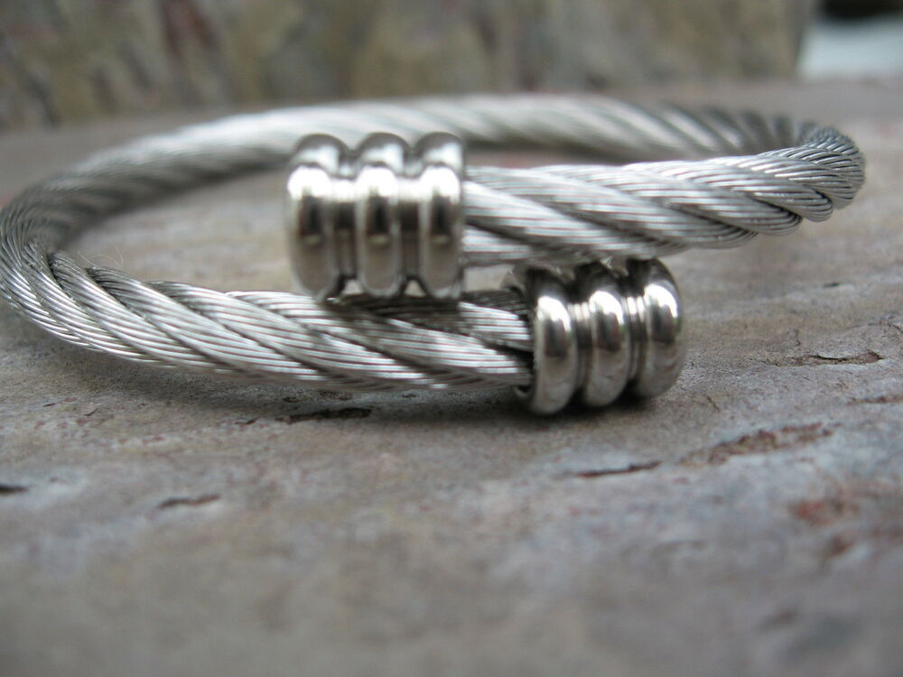 Flat Steel Cable : Stainless steel cuff bangle bracelet cable mesh shiny