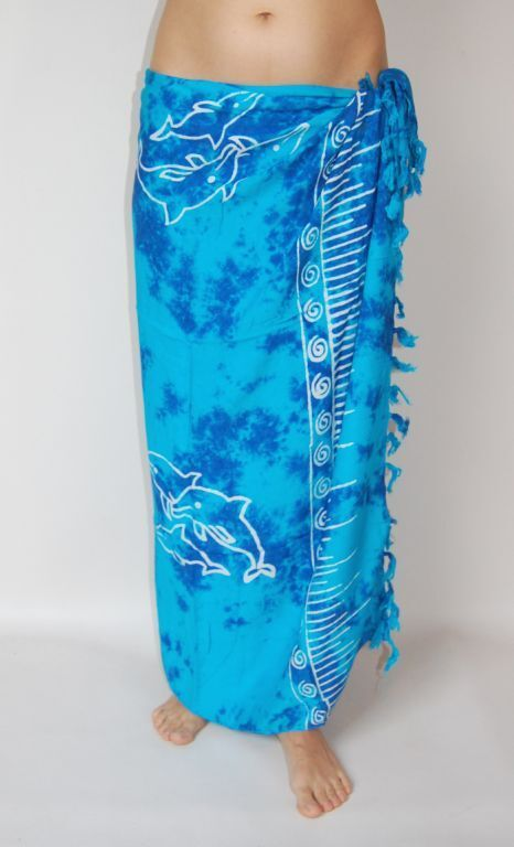 New Unisex Blue Tie Dye Sarong Pareo Beach Wrap Dolphin