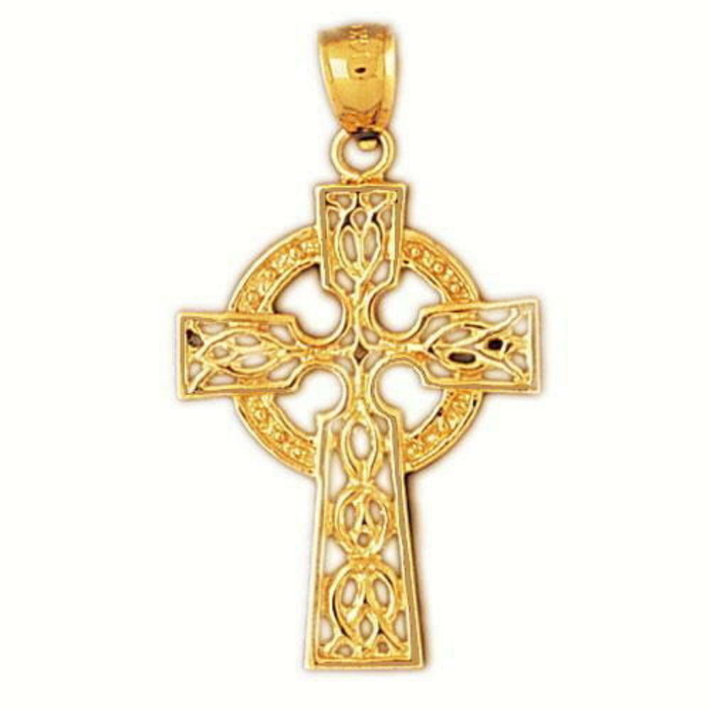 14k yellow gold celtic cross pendant charm made in usa. Black Bedroom Furniture Sets. Home Design Ideas