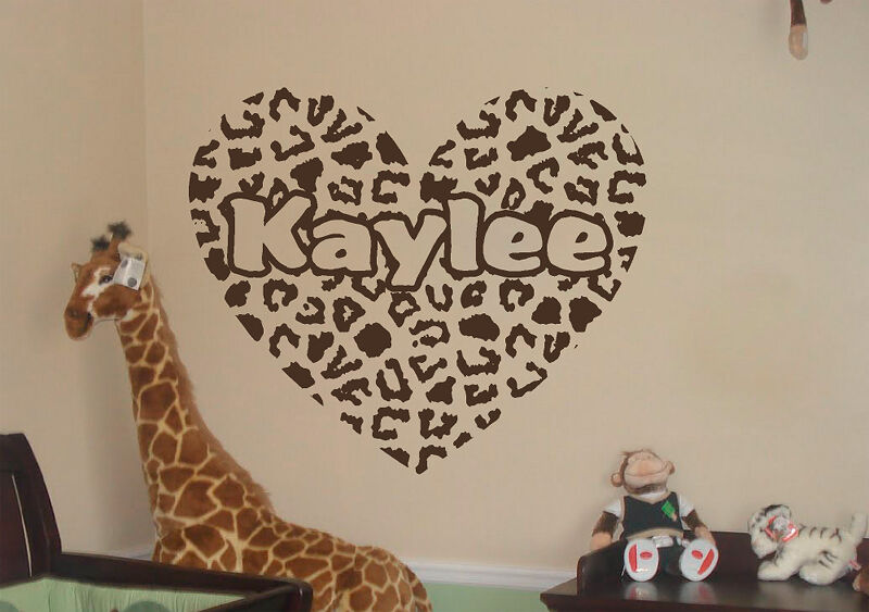 Personalized Cheetah Print Heart W Personalized Text Vinyl