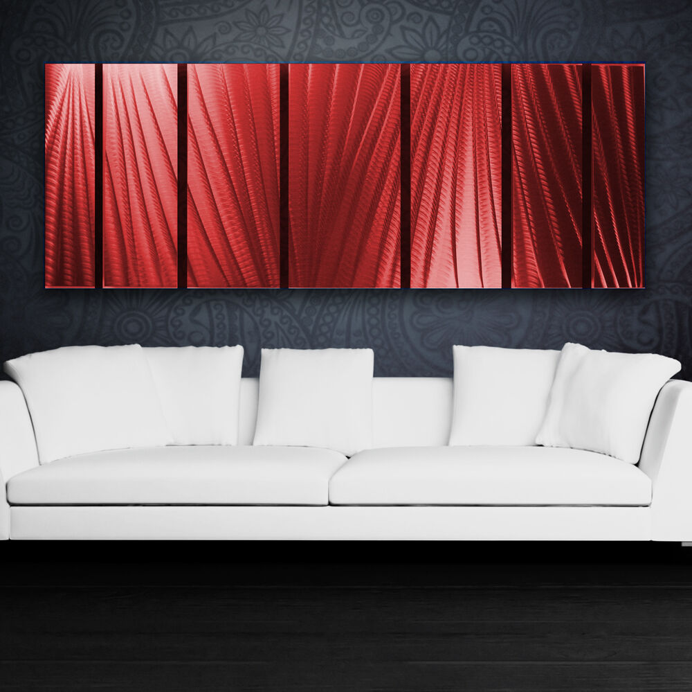Modern abstract metal wall art red painting sculpture home for Red wall art