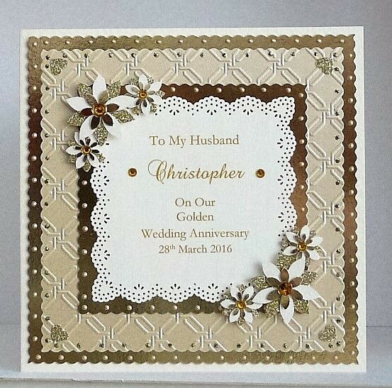 50th Wedding Anniversary Gift For Husband : Personalised Golden 50th Wedding Anniversary Card Wife/Husband/Mum/Dad ...